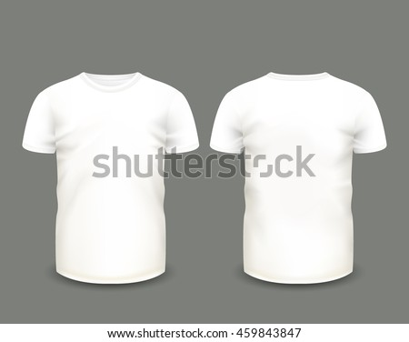 Men's white t-shirt with short sleeve in front and back views. Vector template. Fully editable handmade mesh.