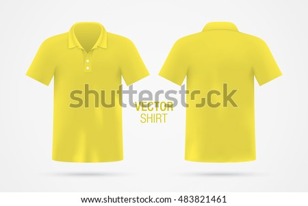 Men's yellow vector polo shirt template isolated on background. Men's classic yellow shirt realistic mockup.
