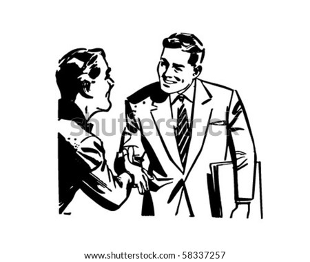 Men Shaking Hands - Retro Clip Art