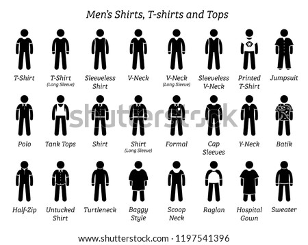 Men shirts, t-shirts, and tops. Stick figures depict a set of different types of shirts, t-shirts, and tops. This fashion clothings design are wear by men or male.
