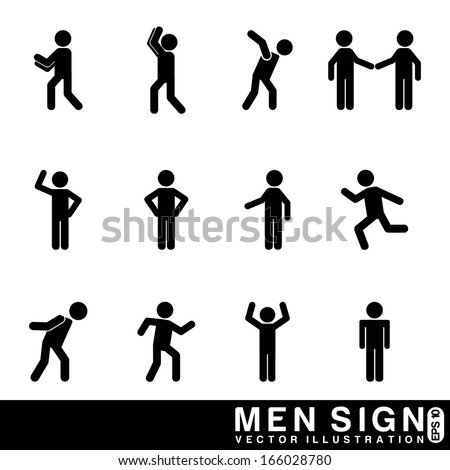 men sign over white background