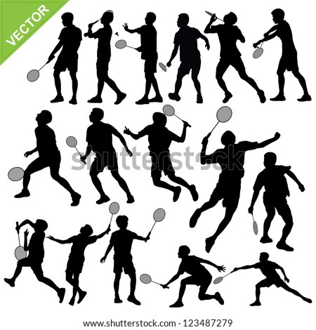Men silhouettes play Badminton vector