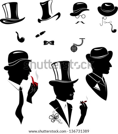 Men silhouettes  smoking cigar and pipe in vintage style isolated on white background
