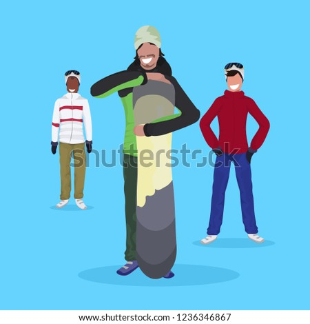 ab37b8dd305 men snowboarders holding snowboard wearing ski suit happy guys winter  vacation activity concept male cartoon character