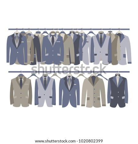 Men Suit Closet Hanging on Rack Vector