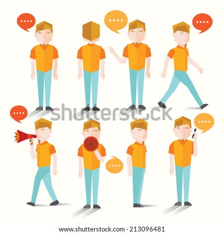 Men talk and gather together vector design