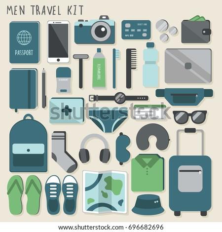 men travel kit vector