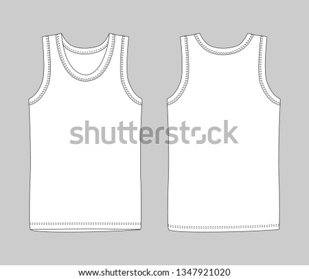 0c5e594cd51e8 Men vest underwear. White tank top in front and back views. Isolated sleeveless  male