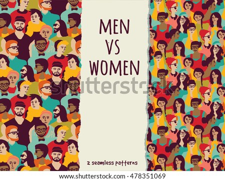 men vs women crowd people color