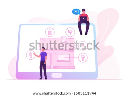 Men with Tablet App for Smart House Technology System with Centralized Control of Lighting, Heating, Ventilation and Air Conditioning, Security and Video Surveillance. Cartoon Flat Vector Illustration