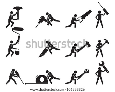men with tools icons set