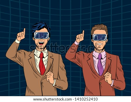 53635d80e291 men with virtual reality headset avatar cartoon character men futuristic  background vector illustration graphic design