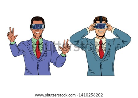 430b6f2e728e men with virtual reality headset avatar cartoon character vector  illustration graphic design