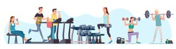 Men & women athletes doing exercises & training at gym set. Sporty people working out lifting dumbbells & weight, jogging on treadmill. Sport, wellness, workout, run, fitness. Flat vector illustration