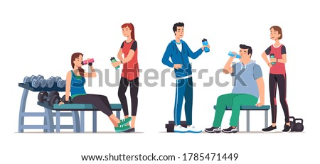 Men & women athletes standing, sitting on benches, resting after training & drinking water in gym set. Sporty people working out, relaxing & communicating. Sport & wellness. Flat vector illustration