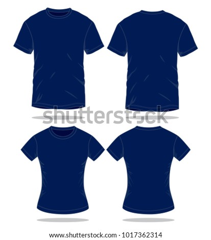 Men & Women Navy blue T Shirt Vector  for Template