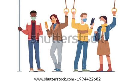 Men, women people passengers in masks riding inside public transport during coronavirus pandemic. Persons standing holding handles in bus or subway train. Social distancing flat vector illustration Foto stock ©
