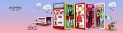 Men & Women Shopping Online on Mobile Phone Long Size VECTOR