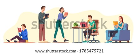 Men & women students reading paper & digital books while sitting, walking, standing. Reading home in armchair, at desk, on floor set. People studying, education, literature. Flat vector illustration