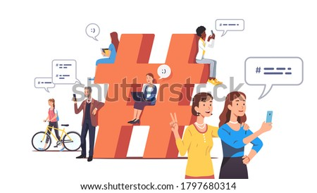 Men & women texting, sending messages with hashtags on computers, mobile phones. Tiny people chat online near big hashtag symbol. Social network modern communication concept. Flat vector illustration Stock photo ©