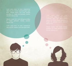 Men & Women with thinking bubbles