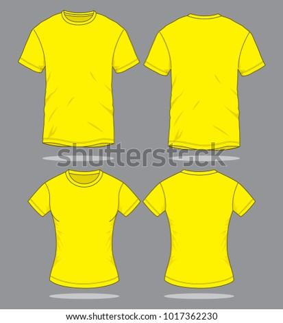 Men & Women yellow T Shirt Vector  for Template - Shutterstock ID 1017362230