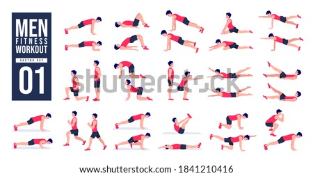 Men Workout Set. Men exercise vector set. Men doing fitness and yoga exercises. Lunges, Pushups, Squats, Dumbbell rows, Burpees, Side planks, Glute bridge, Leg Raise, Russian Twist .etc