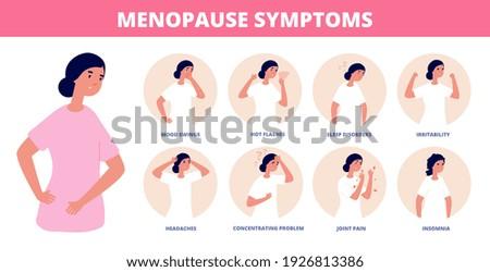Menopause symptoms. Woman diseases, libido and estrogen hormones concentration. Fatigue depression anxiety, female medical utter vector poster Foto d'archivio ©
