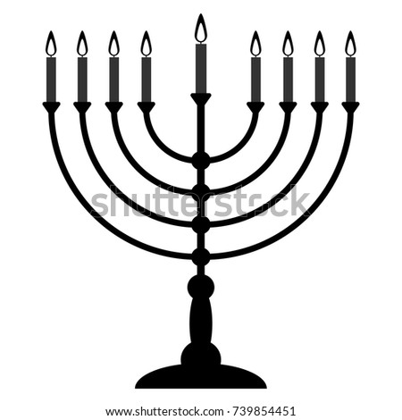 Menorah for Hanukkah. Religion icon. Vector illustration.