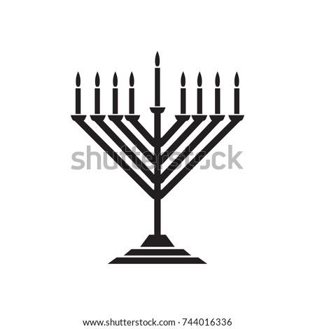 Menorah hanukkah icon. Jewish Holiday symbol menorah - light candelabra with candles silhouette isolated white background. Flat web sign, Israel Holiday symbol, vector concept logo, label illustration