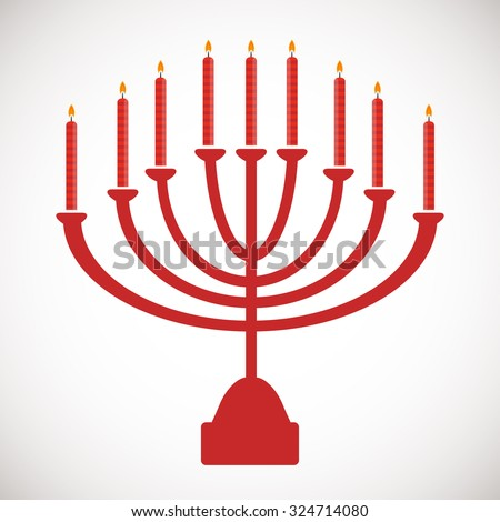 Menorah symbol. Hanukkah holiday icon.  Vector illustration for Jewish holiday Hanukkah.