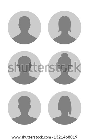 Mens and womens avatars set. Male and female silhouettes. Profiles abstract people. Unknown or anonymous persons. Vector illustration Foto d'archivio ©