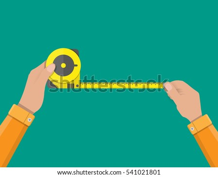 Mens hands hold measuring tape. construction industry. vector illustration in flat style.