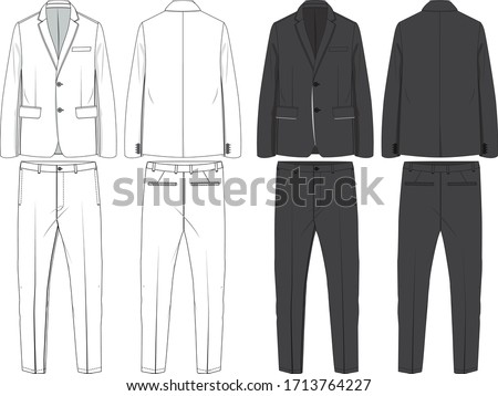 mens vector suit pack, flat technical drawing Stockfoto ©