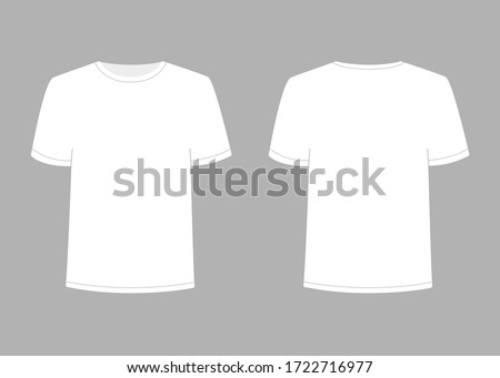 Mens white blank t shirt with short sleeve. Shirt mockup in front and back view. Vector template illustration on gray background