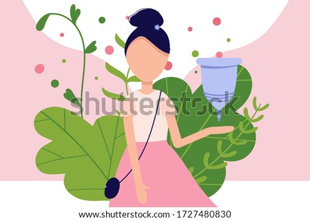 Menstrual cramp in period, use menstrual cup inside vagina. Zero waste feminine device. Menstuation womans period. Personal hygiene.