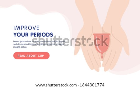 Menstrual cup concept banner landing page design. Menstrual cup in female hands. Improve you period concept. Vector flat cartoon illustration
