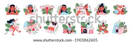menstruation color set of