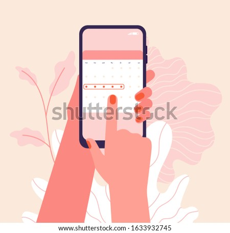 Menstruation cycle. Hands hold woman periods calendar. Menstrual phone application, ovulation check. Vector female health illustration