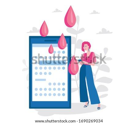 Menstruation in women. Menstruation calendar app. period. Vector illustration for web banner, infographics, mobile. menstruation