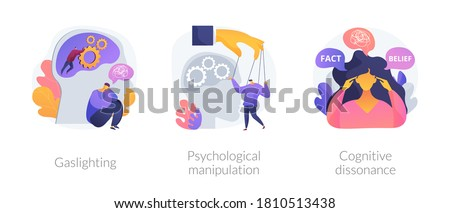 Mental abuse abstract concept vector illustration set. Gaslighting, psychological manipulation, cognitive dissonance, emotional blackmailing, social engineering, missing out abstract metaphor. Foto stock ©