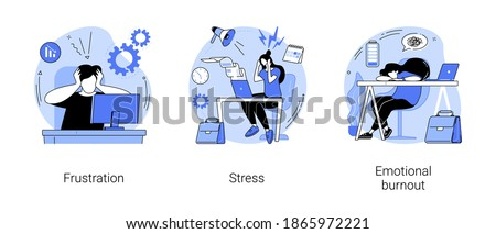 Mental disorder abstract concept vector illustration set. Frustration and stress, emotional burnout, anger control, overworking, psychological help, depression diagnosis abstract metaphor.