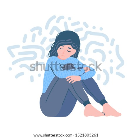 Mental disorder. Depression woman. Girl confused. Teen in stressful situation. teenager psychological problem, shame. Stress, despair, anxiety disorder, fatigue. Flat cartoon vector illustration.