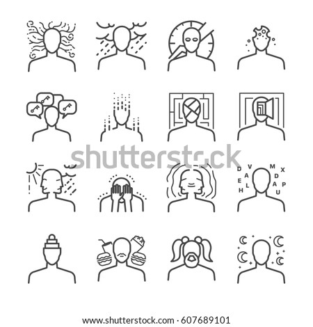 Mental disorders line icon set. Included the icons as symptoms, depressed, illness, sick, sad, stress and more.