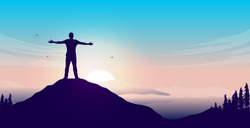 Mental happiness - Man on mountain peak with open arms welcoming a new day with sunrise and beautiful view. Vector illustration.