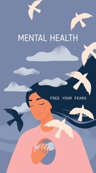 Mental health. A girl with a hole in her mind and flying birds to the clouds on Celestial background.