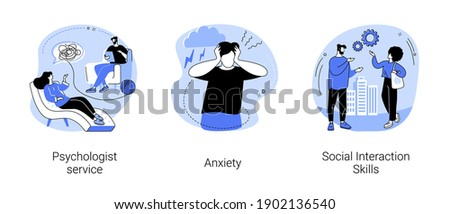 Mental health abstract concept vector illustration set. Psychologist service, anxiety, social interaction skills, family psychology, children therapy, panic attack, social network abstract metaphor. Foto stock ©