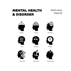 Mental Health and Disorder solid icons set