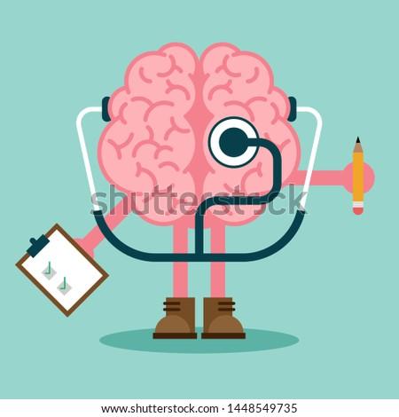 Mental health and mental illness concept flat design, vector illustration