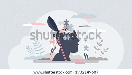 Mental health and negative sick mind thought treatment tiny person concept. Emotional disorder and psychology doctor help with therapy and trouble research vector illustration. Caring anxiety issues.